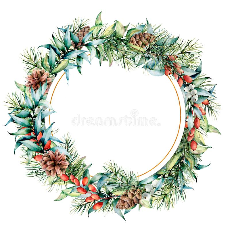 Watercolor circle floral frame with winter plants and golden decor. Hand painted eucalyptus and fir branches, cones vector illustration