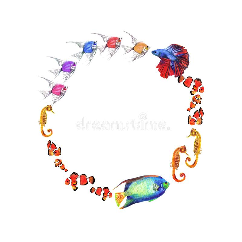 Watercolor circle frame of fishes on white background royalty free illustration
