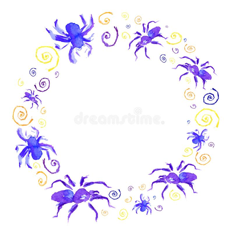 Watercolor circle frame of violet spider to Halloween stock illustration