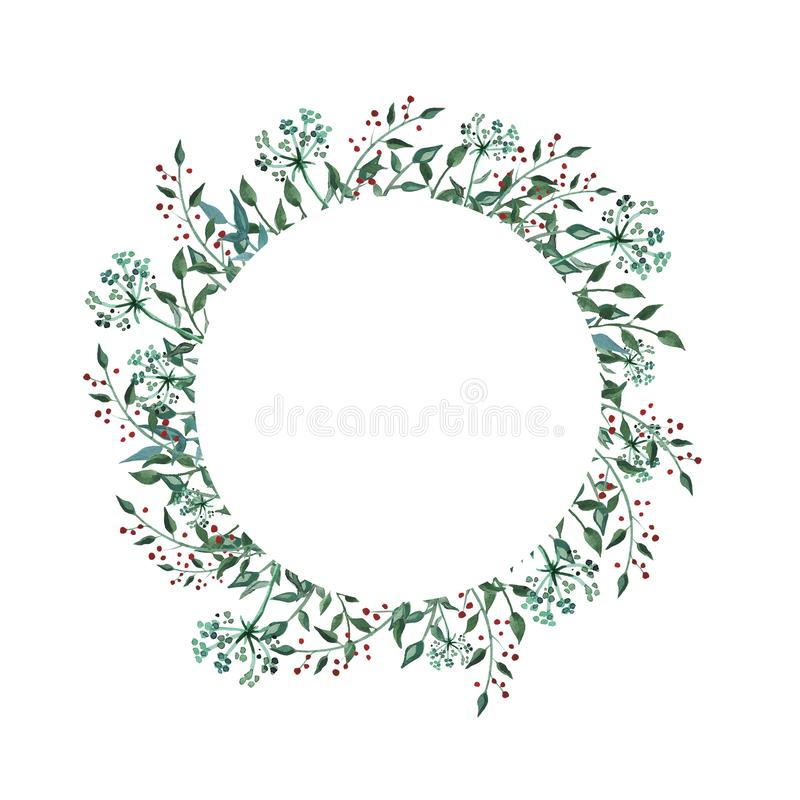 Watercolor circle frame with wildflower, herbs, leaf. collection garden, wild foliage, flowers, branches. Illustration isolated on white background vector illustration