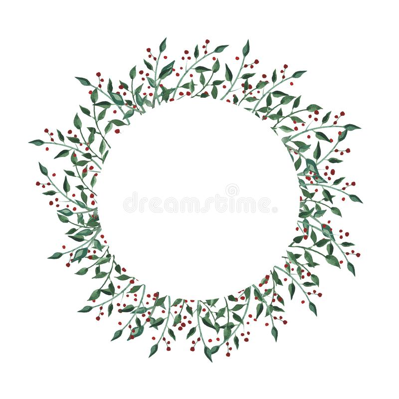 Watercolor circle frame with wildflower, herbs, leaf. collection garden, wild foliage, flowers, branches. Illustration isolated on white background royalty free illustration