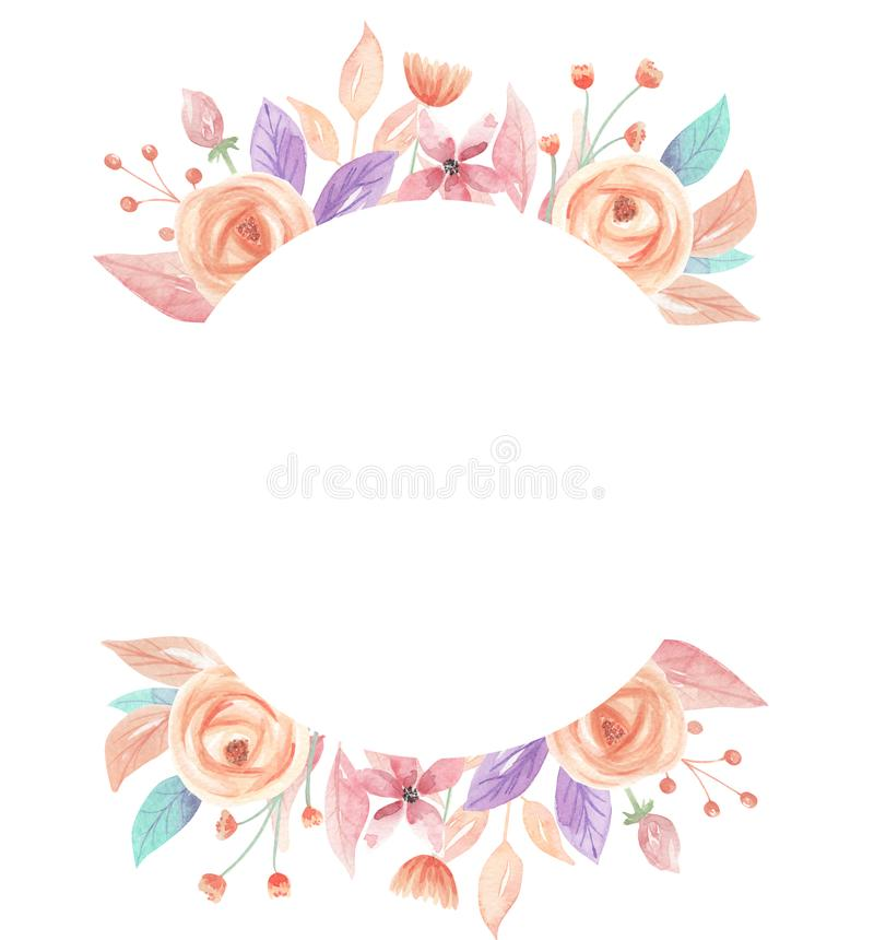 Download Watercolor Summer Peach Coral Berries Flowers Floral Circle Frame Stock Illustration
