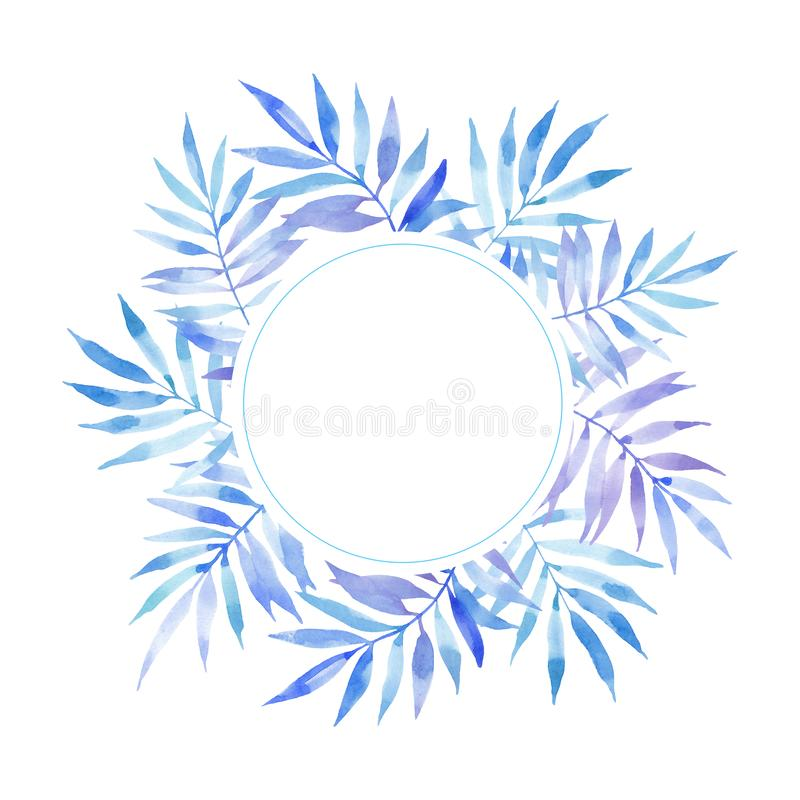 Watercolor circle round frame of blue leaves fern branches stock illustration