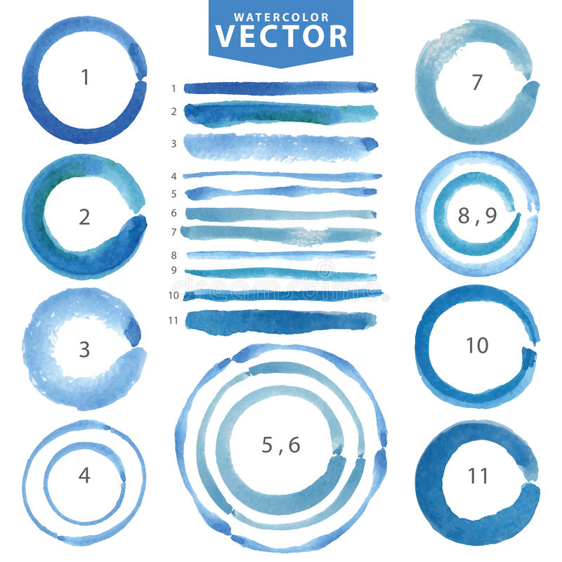 Free Watercolor Circle Stain,line Brushes.Cyan,blue.Summer Stock Photo - 76027320