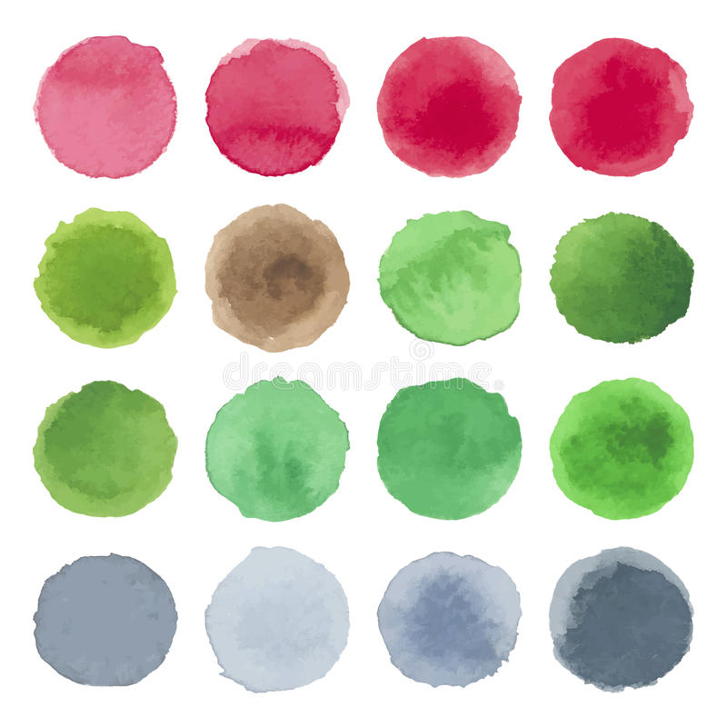 Watercolor circle texture. Multicolored blots stock illustration