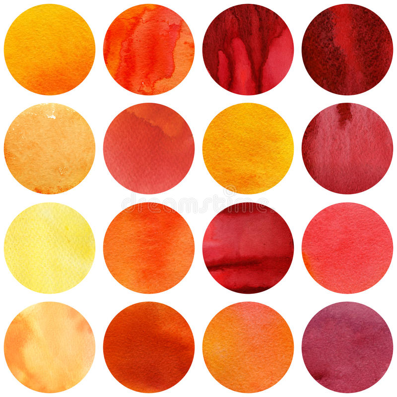 Watercolor circles collection in yellow and red colors. stock photography