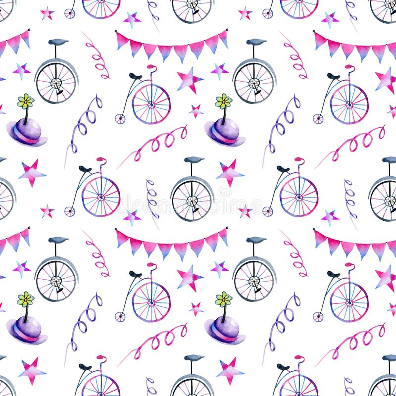 Watercolor circus and festive elements seamless pattern stock illustration