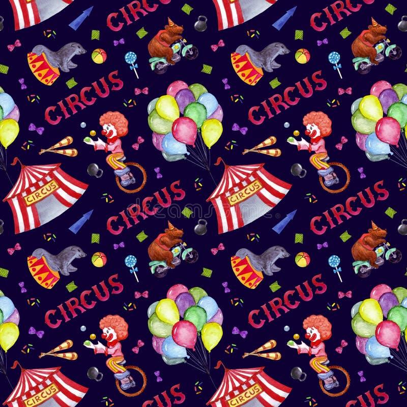 Watercolor circus seamless pattern vector illustration