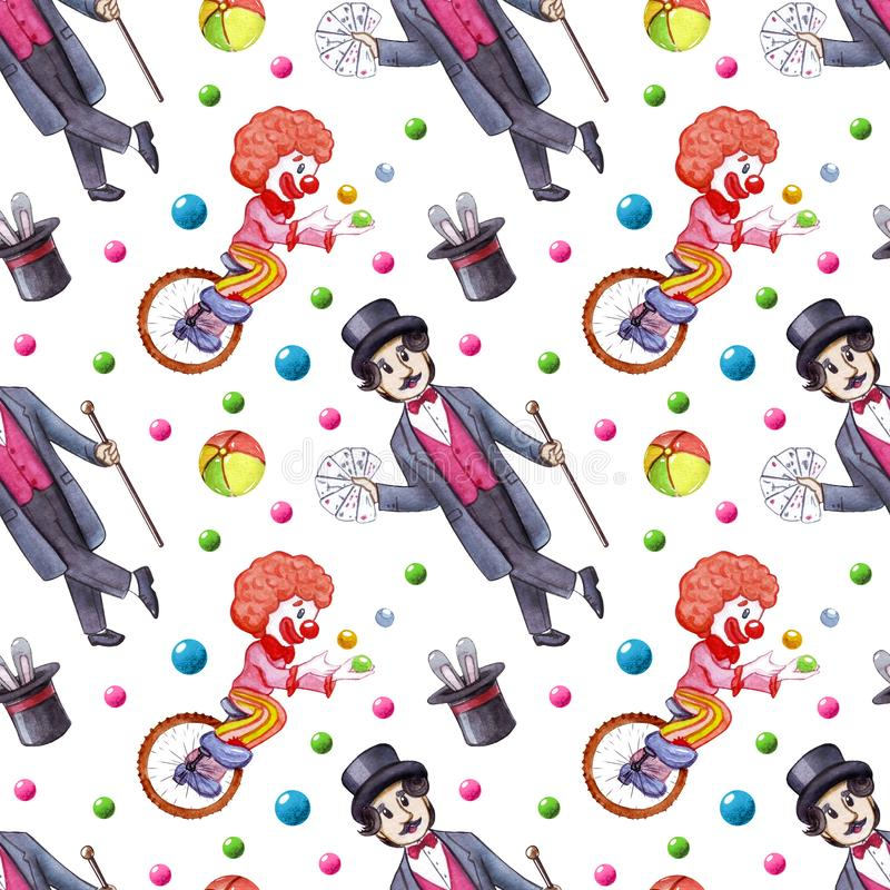Watercolor circus seamless pattern royalty free illustration