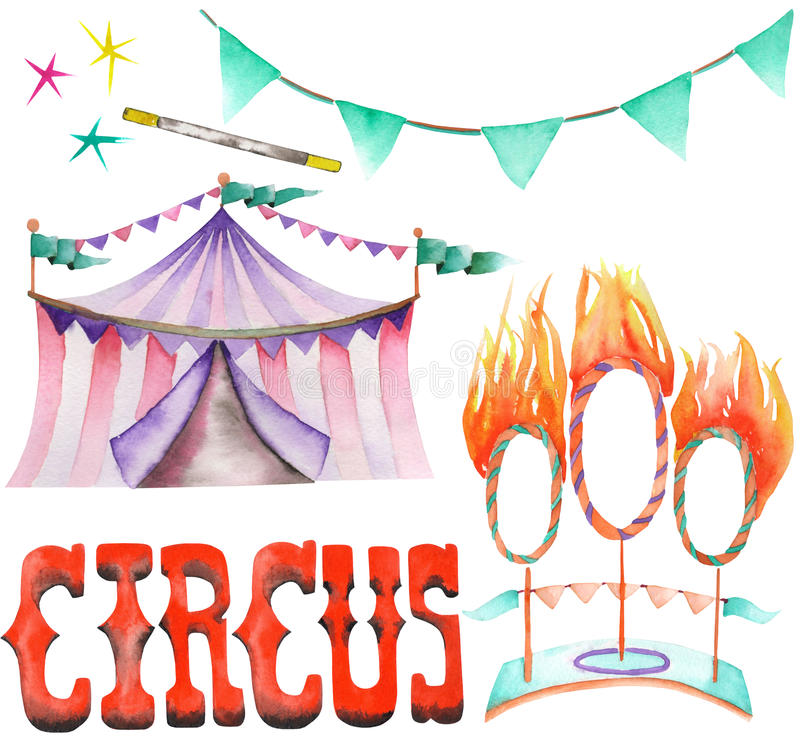 Download A Watercolor Circus Set With The Hand Drawn Elements A Garland Of Flags  sc 1 st  Dreamstime.com & A Watercolor Circus Set With The Hand Drawn Elements: A Garland Of ...