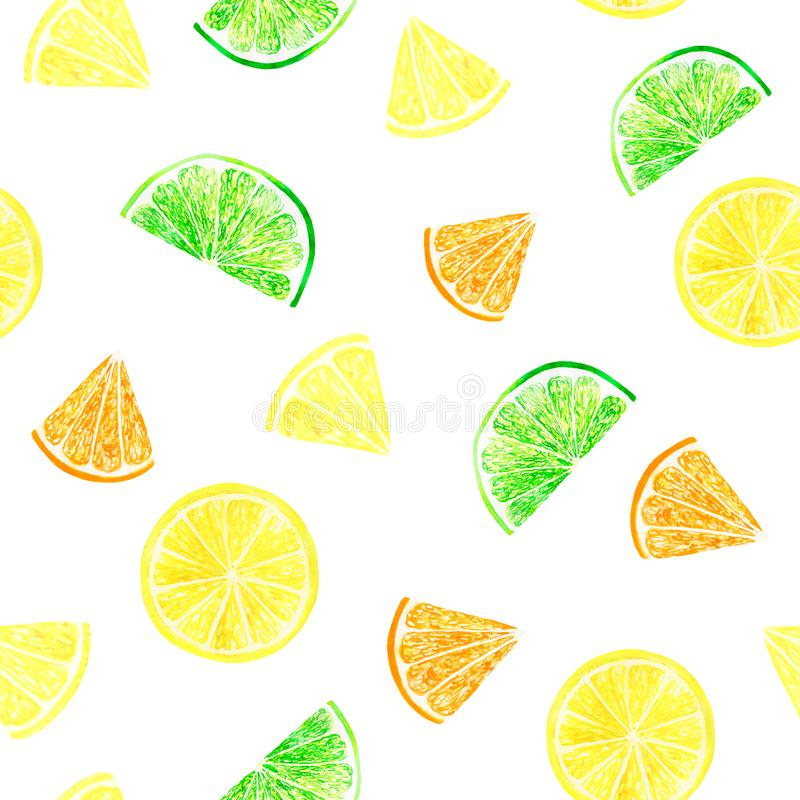 Watercolor citrus pattern with grapefruit, lime, orange, lemon slice. Citrus seamless pattern, botanical natural. Illustration. Hand drawn watercolor painting royalty free stock photography