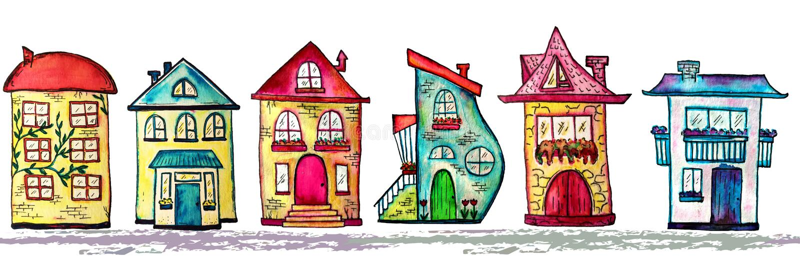 Watercolor city seamless line. Cute houses background. Raster illustration. Watercolor city seamless line. Cute colorful houses background. Raster illustration stock illustration