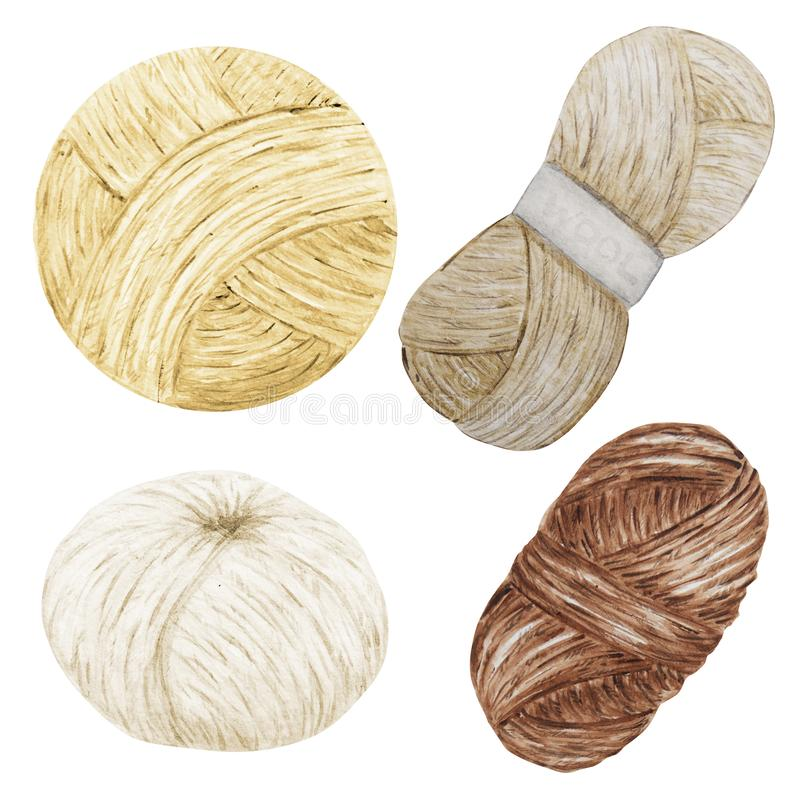 Watercolor Clip Art Hobby Knitting and Crochetingnatural scandinavian colors, brown, white, beige, Wool Yarn, Bottons. Watercolor Clip Art Hobby Knitting and royalty free illustration