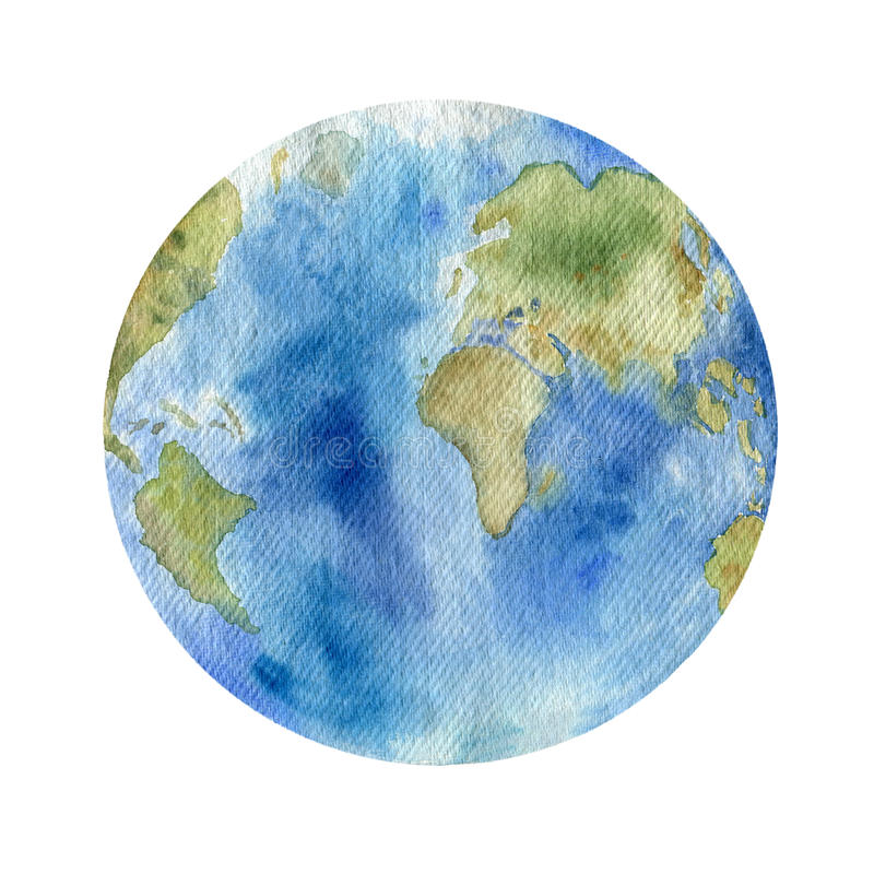 Watercolor clipart του πλανήτη Γη διανυσματική απεικόνιση