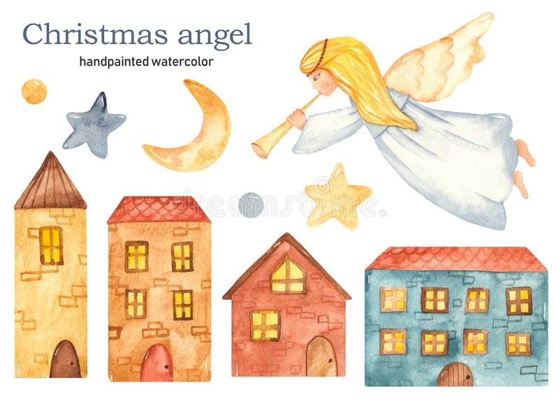 Christmas flying girl angel with trumpet watercolor clipart, houses, crescent, stars royalty free stock photos