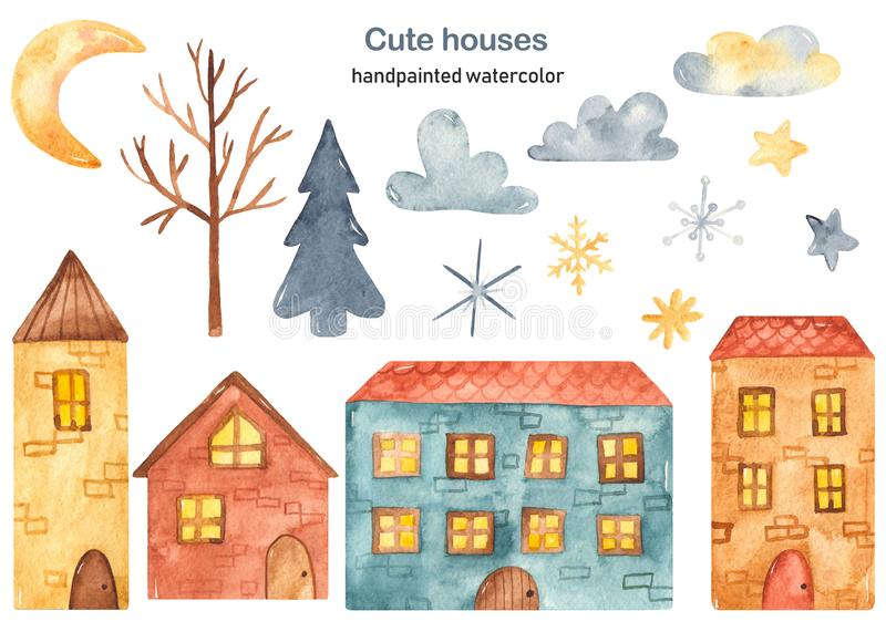 Watercolor clipart cute cartoon multi-story houses, tree, spruce, clouds, crescent, stars, snowflakes. Watercolor clipart city with cute cartoon multi-story stock illustration