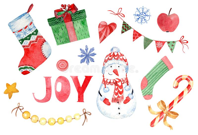 Watercolor clipart of Happy New Year and Christmas Day isolated on white background stock illustration