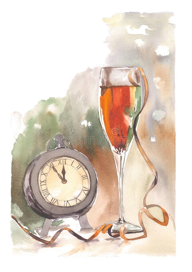 Watercolor New Year illustration of clock and champagne glass. Watercolor christmas clock and glass stock illustration
