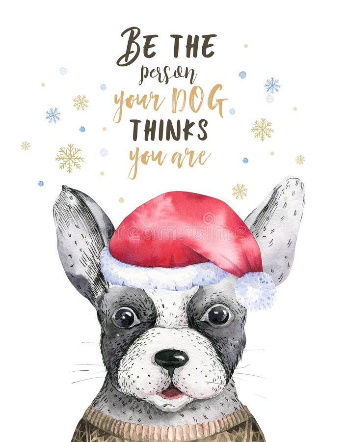 Watercolor closeup merry christmas portrait of cute dog. Isolated on white background. Hand drawn sweet home new year vector illustration