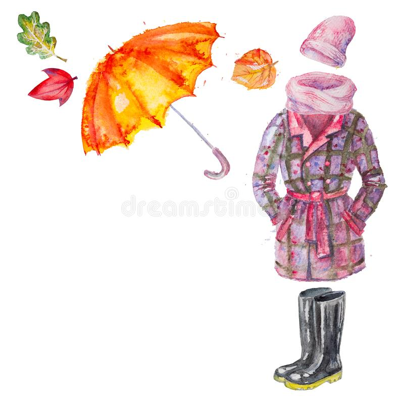 Watercolor Clothing and Accessories. Set of hand drawn watercolor autumn clothing and accessories, coat, umbrella, gumboots, scarf, hat with leaves ,isolated on royalty free illustration