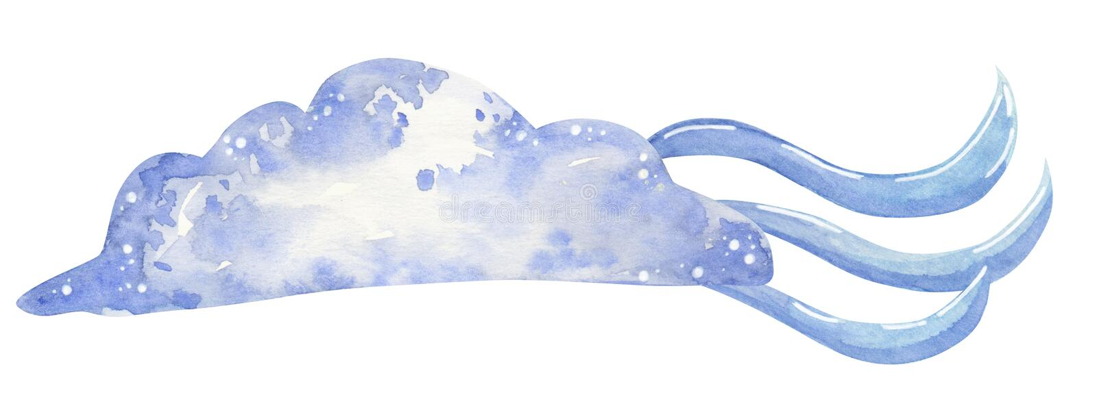 Watercolor cloud with wind, hand drawn watercolor illustration royalty free stock photography
