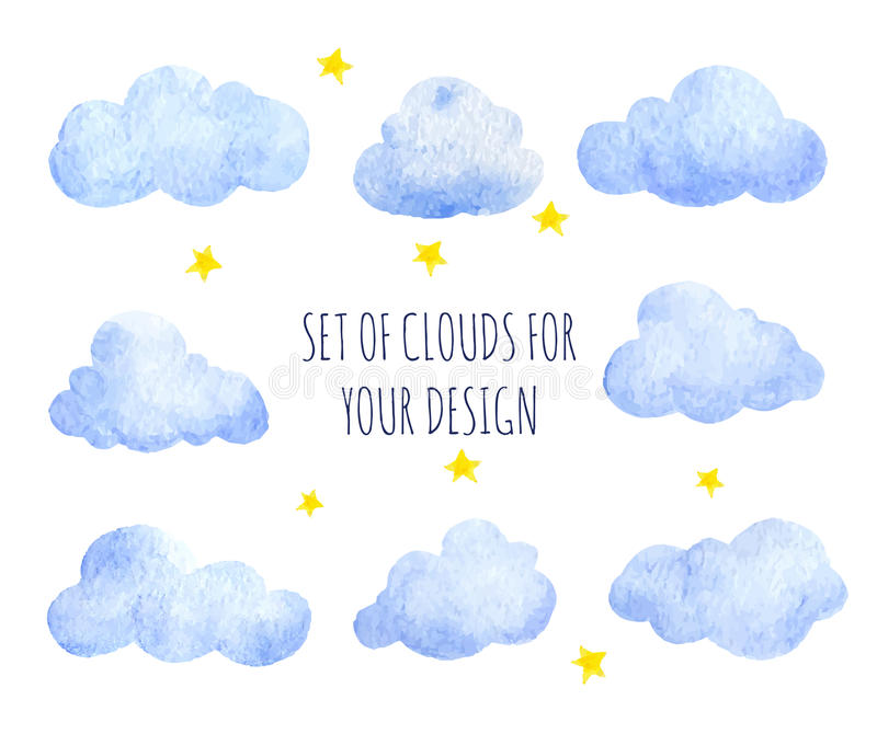Watercolor clouds stock illustration