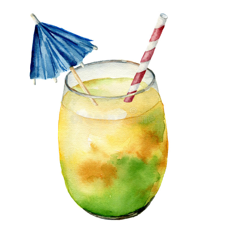 Watercolor cocktail with exotic fruit. Hand painted summer tropical drink in jar isolated on white background. Food royalty free illustration