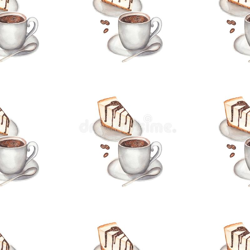 Watercolor coffee with Cheesecake seamless pattern vector illustration