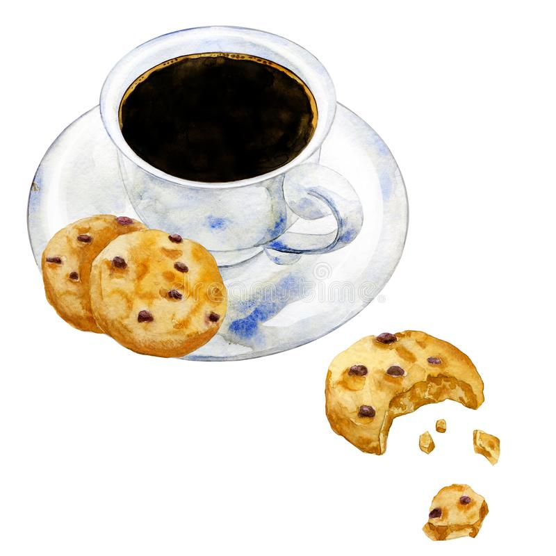 Watercolor coffee with chocolate cookies royalty free illustration