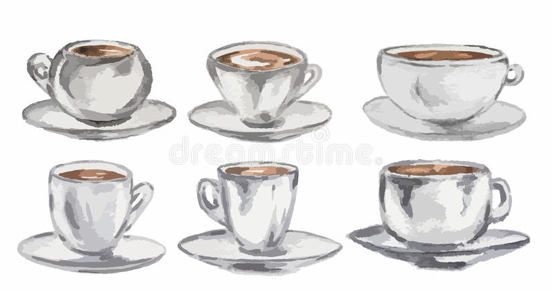 Watercolor coffee set. stock photo