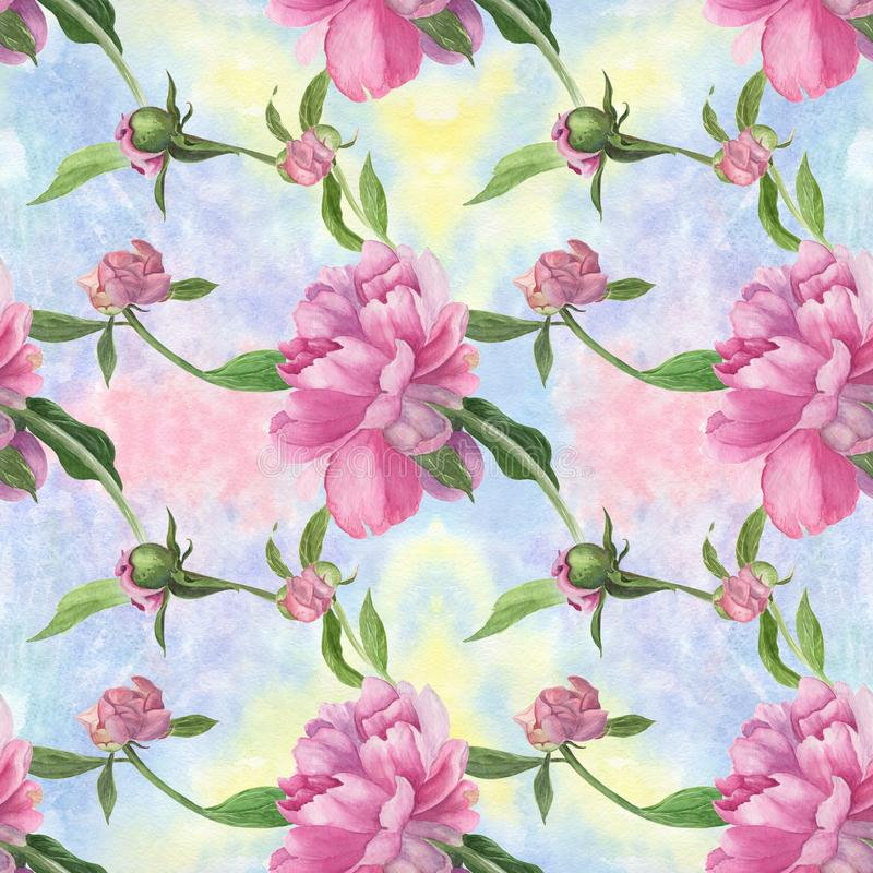 Download PeoniesWatercolor Background Abstract Wallpaper With Floral Motifs Seamless Pattern Stock