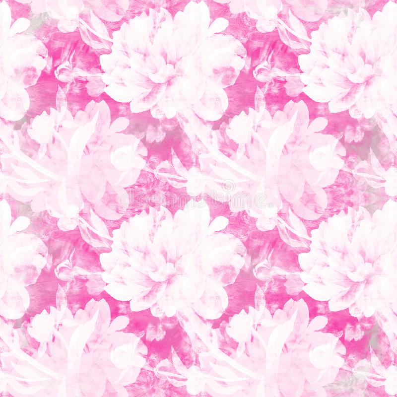 Peonies. Seamless background. Collage of flowers and leaves. royalty free illustration