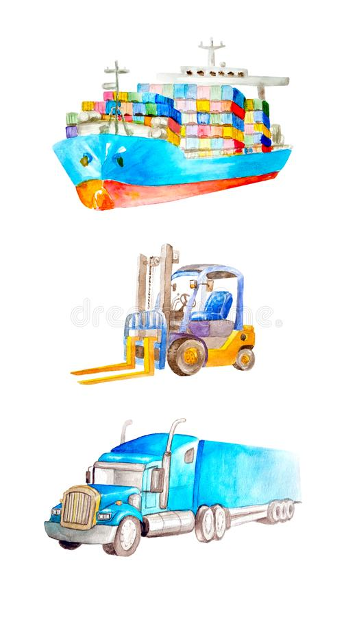 Watercolor collection of cargo transport and logistic vehicle. Container ship, forklift and classic American truck. Trailer. On a white background isolated for stock illustration