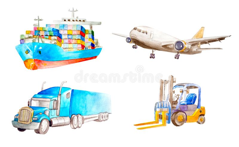 Watercolor collection of cargo transport and logistic vehicle. Container ship, cargo plane, classic American truck. Trailer and forklift. On a white background stock illustration