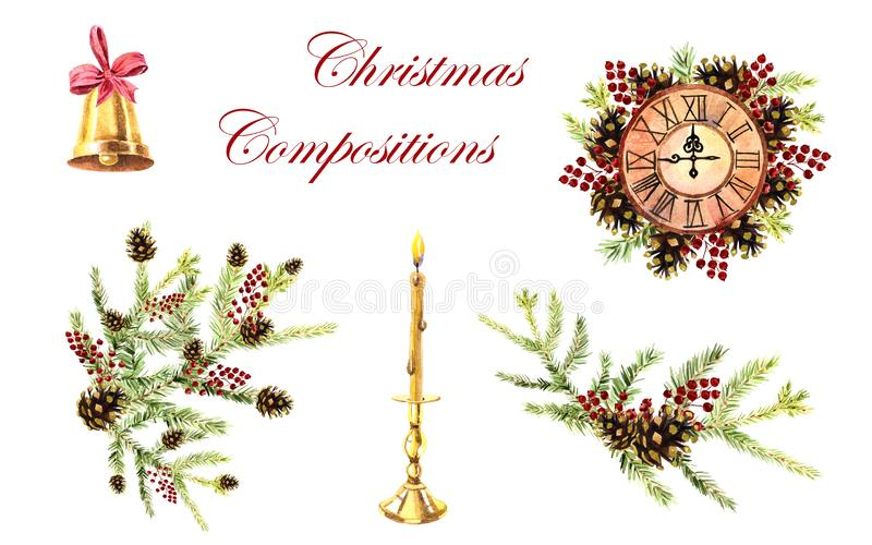 Watercolor collection of Christmas compositions on a white background royalty free illustration