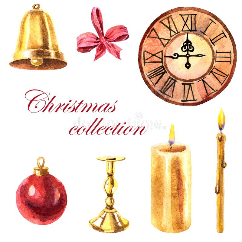 Watercolor collection of Christmas objects on a white background stock illustration