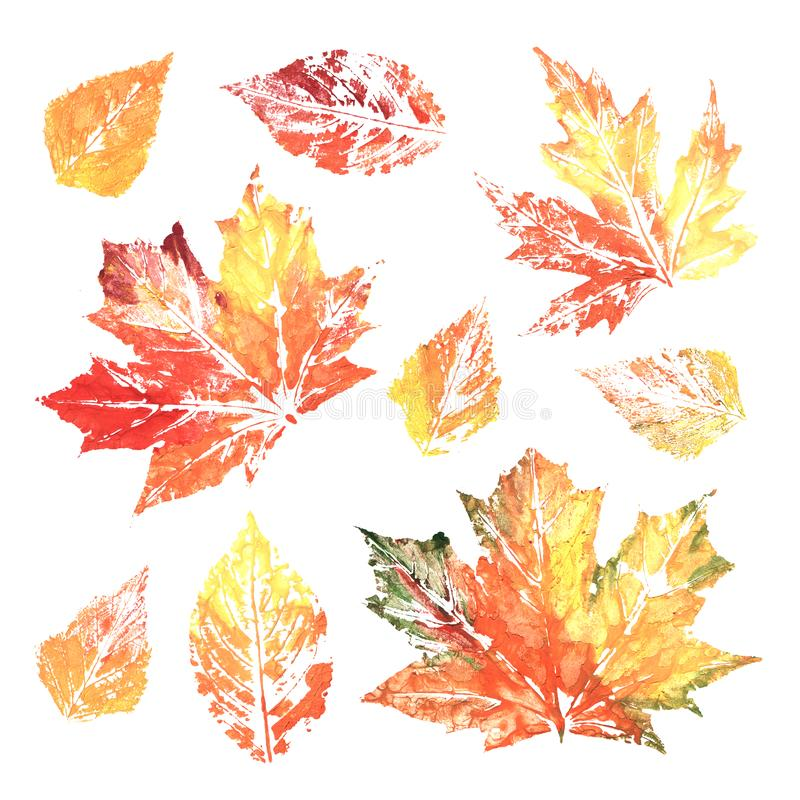 Watercolor colorful ink printing leaves stock illustration