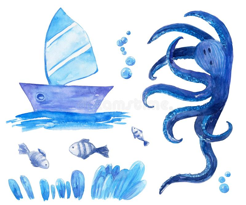 Watercolor collection with sea boat, octopus, water plant, bubbles and fishes for kids isolated on the white back. For use on card, poster, design, scrapbook royalty free illustration