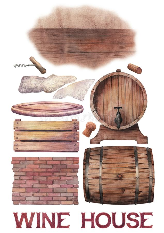 Watercolor collection winery wooden stuff royalty free illustration