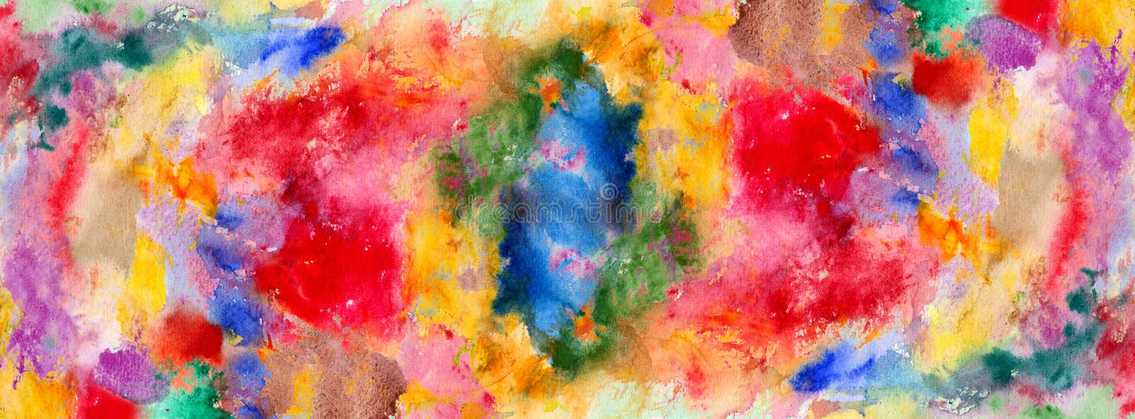 Watercolor color stains and brush strokes. Detail royalty free illustration
