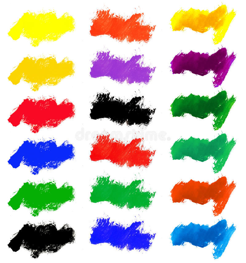 Watercolor color stains and brush strokes. Isolated royalty free illustration