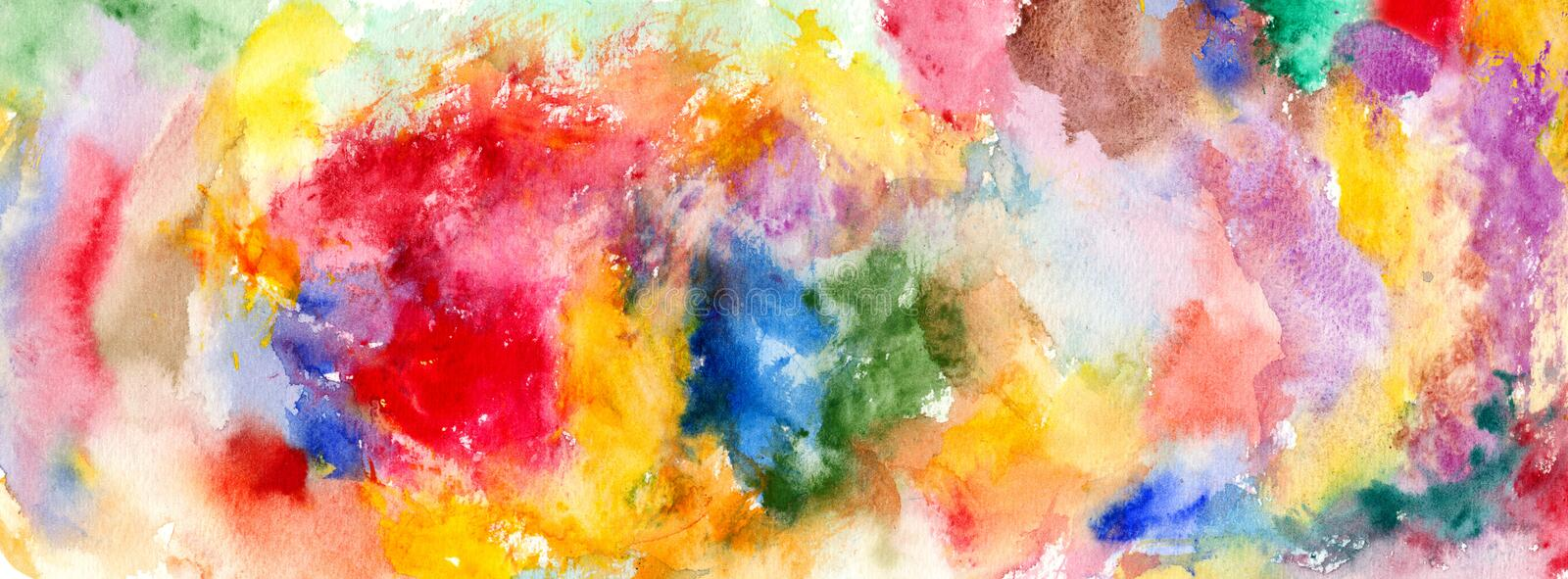 Watercolor color stains and brush strokes. Detail vector illustration