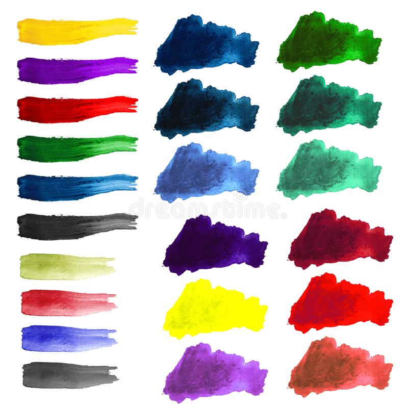 Watercolor color stains and brush strokes. On white background royalty free illustration