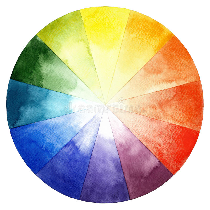 Download Watercolor Color Wheel Primary Secondary And Tertiary Colors Stock Illustration