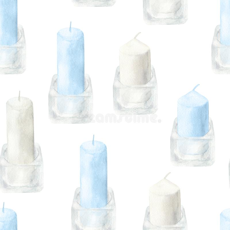 Watercolor colored candles in glass candlesticks seamless pattern. Hand drawn illustration on white background for cards, stock images