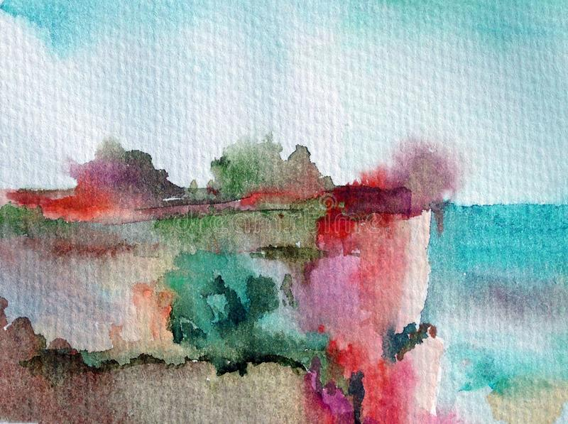 Watercolor colorful bright textured abstract background handmade . Mediterranean landscape . Painting of hill on the sea coast. Watercolor colorful bright vector illustration