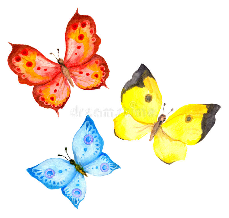 Watercolor Colorful Butterflies Stock Illustration - Illustration of ...