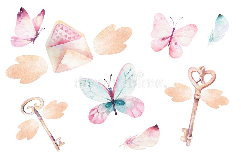 Watercolor colorful butterflies, isolated on white background. blue, yellow, pink and red butterfly illustration. stock illustration