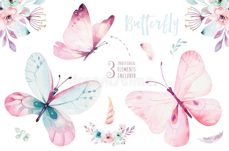 Watercolor colorful butterflies, isolated on white background. blue, yellow, pink and red butterfly illustration. royalty free illustration