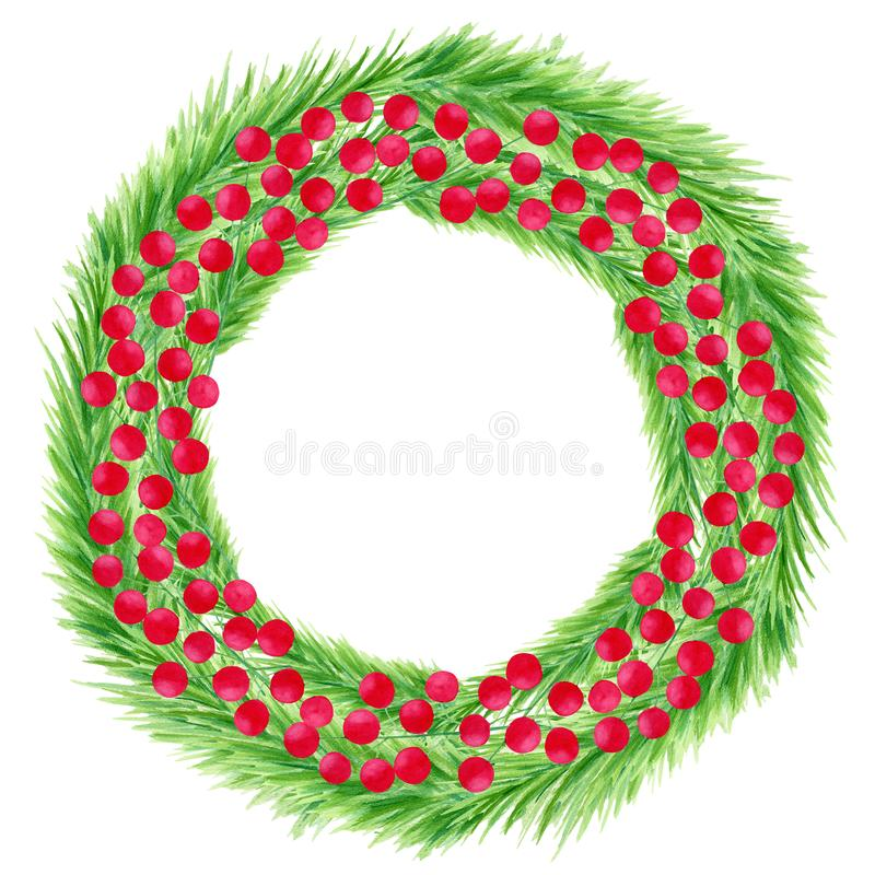 Watercolor colorful Christmas wreath with spruce branches and holly berries. Hand drawn door decoration isolated on white. Background. Round frame template for stock image